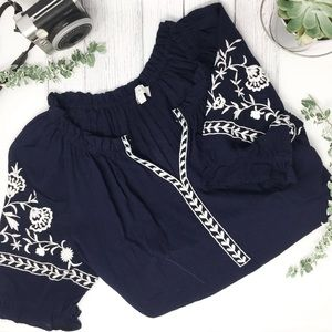 Navy Blue Floral Embroidered Peasant Blouse